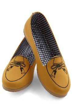 Pass the Muster Flat - Yellow, Menswear Inspired, Flat, Bows, Work, Casual, Nautical, International Designer