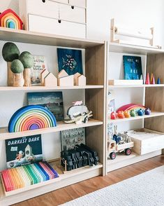 Toy Storage Shelves, Playroom Storage, Playroom Ideas, Basement Ideas, Storage Ideas, Living Room Bookcase, Making Wooden Toys, Kids Toys, Children's Toys