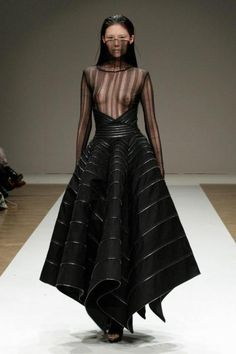 Visions of the Future: Liberum Arbitrium SS 2012, future fashion, black dress, futuristic clothing, black clothing, model, transparent clothing, black, futuristic girl