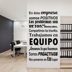 Vinilo con mensaje positivo para empresas que desean decorar sus paredes, muebles, espejos...Distintos tamaños y colores. Vinilos recortados de alta calidad.