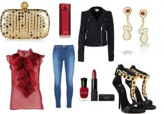 """""""Red, black & gold"""" by costisjewelry on Polyvore"""