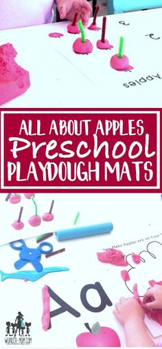 apple Playdough mats for preschool learning activities - preschool math and literacy - sensory dough Playdough Activities, Preschool Learning Activities, Toddler Preschool, Fun Activities, Kids Learning, Preschool Math, Preschool Apples, Homeschooling Resources, Learning Letters