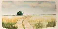 Acuarela de los típicos campos de Castilla La Mancha.   Watercolor of the tipical fields of Castilla La Mancha. HMZEN'14