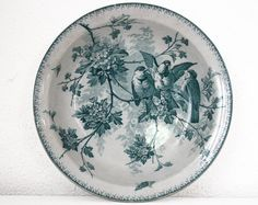 LARGE 11.8. 1900 French Sarreguemines Round  Dish  door RueDesLouves
