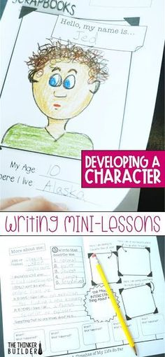 When students write fiction, creating a strong character can be a real challenge. Get lots of ideas, tips, and engaging activities to help students develop fictional characters for narrative writing. (The Thinker Builder) 4th Grade Writing Prompts, Writing Mini Lessons, Fourth Grade Writing, Narrative Writing, Fiction Writing, Kids Writing, Teaching Writing, Writing Skills, Writing Activities