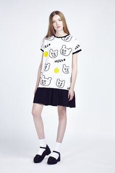 Lazy Oaf Hello Bear Frill Dress http://www.lazyoaf.com/lazy-oaf-hello-bear-frill-dress