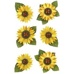 Sunflowers 3-D Stickers