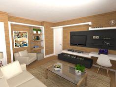 Sala de TV com Paredes padrão Amadeirado. Projeto: Escritório de Arquitetura Servino e Assed Renderização: Estúdioi - Desenhos em 3D e Renderização de Imagens para Arquitetura