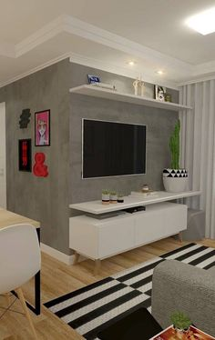 Parede cinza o rack para sala pequena branco de pés palitos Small Living Rooms, Home Living Room, Apartment Living, Living Room Decor, Interior Design Living Room, Living Room Designs, House Design, Home Decor, Design Ideas