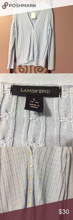 Land's End NWT, blue, L, cardigan. Land's End, NWT, sky blue, cardigan. 6 buttons on the front. Great color. Was a gift and it is too big for me.  26 inches from shoulder to hem. 19 inches across. 26 inch sleeves - from top of shoulder to bottom of cuff. Lands' End Sweaters Cardigans