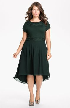 Cute for the holidays Jessica Simpson Mock Two Piece Asymmetrical Dress at Big Girl Fashion, Xl Fashion, Curvy Fashion, Plus Size Fashion, Fashion Dresses, Plus Size Dresses, Plus Size Outfits, Xl Mode, Jessica Simpsons