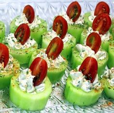 Recipes 17 |   Cucumber Bites with Herb Cream Cheese and Cherry Tomatoes