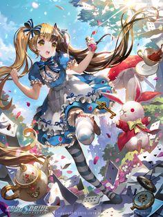 Alice arrivant au pays des Merveilles