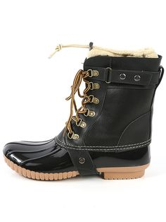 Online shopping for Fleece Trim Rubber Duck Boots BLACK from a great selection of women's fashion clothing & more at MakeMeChic.COM.
