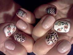 Leopard print, aztec and roses nail art