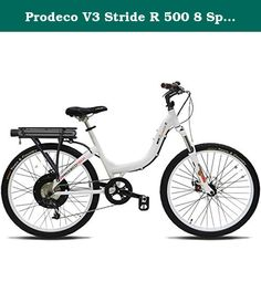 "Prodeco V3 Stride R 500 8 Speed Electric Bicycle, Pure White Gloss, 26-Inch/One Size. Prodeco Technologies Stride 500 WHITE Electric Bike—12 Ah Lithium Powered, 20 mph, 28-38 Mile Range, 2 Year Warranty, Built in the USA A New Way to Bike Check out the pure white gloss version Stride 500, with its powerful 500-watt motor, which delivers 720 watts at peak, and a high capacity 12-amp battery. This step-through, rigid frame electric bike brings new meaning to the term ""ease of use."" You will..."