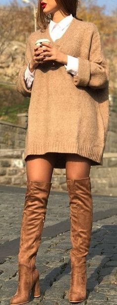 #winter #outfits brown sweater