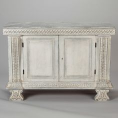 Italian Two Door Chest With Faux Painted Top and Carved Details Item:6962 $4495