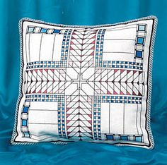 Blue American Art Deco Cushion Cross Stitch Kit by Barbara Thompson