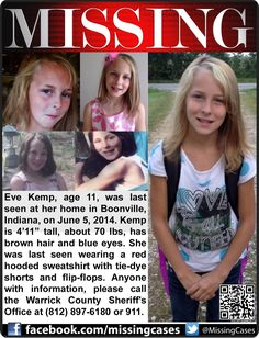 FOUND!!!!!   Repining!  6/5/2014: Eve Kemp, age 11, was last seen at her home in Boonville, Indiana. ***Thank you for repinning!