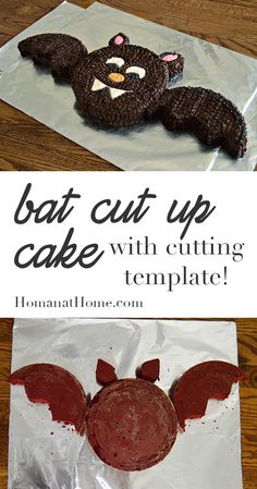 Use two round cakes to make an adorable Halloween bat. Template and instructions for layout included, along with decorating tips. Easy enough for kids!