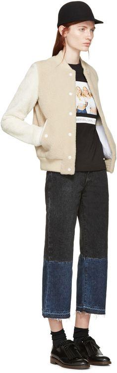 Aalto Beige Shearling Bomber Jacket