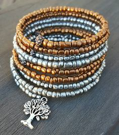 Check out this item in my Etsy shop https://www.etsy.com/listing/270747496/memory-wire-bracelet-with-metallic-seed