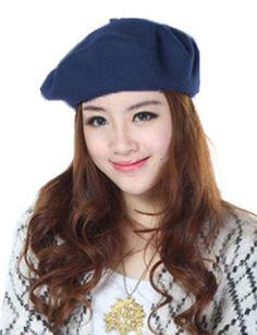 73963bcdaf3 Navy Blue Autumn Winter Wool Beret Cap Headgear Hats for Women
