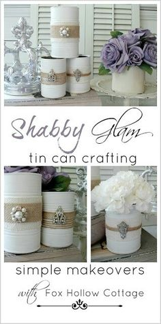 Ideas for decorating cans maybe paint white then lay a piece of lace on it and reprint then add the twine?
