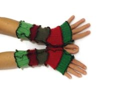 Unique Arm Warmers Red & Green  Fingerless Gloves  by malibuquilts, $20.00