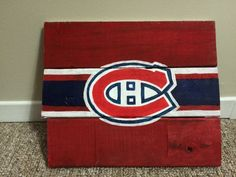 Man Cave Hockey Signs : Montreal canadiens hockey logo painted wood sign man cave crafts