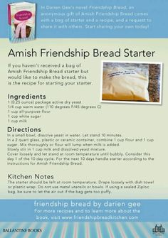 Amish bread starter My mom used to love making thisIt. This is so good and you n… Amish bread starter My mom used to love making thisIt. This is so good and you never lose the recipe because its an on going starter recipe! Amish Recipes, Old Recipes, Vintage Recipes, Cooking Recipes, Recipies, Dutch Recipes, Greek Recipes, Easy Recipes, Friendship Cake