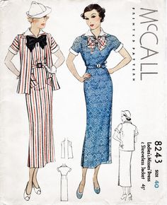 McCall 8243 1930s day dress and jacket vintage sewing pattern