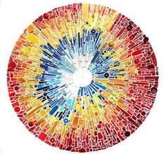 Steve McPherson has been collecting plastic debris from the North Kent Coast of the UK for 15 years. In Correlation, he uses the journey of Phileas Fogg in Jules Verne's Around the World in Eighty Days as the framework to arrange the piece. The colors, here, correspond to the mean average yearly low and high temperatures of each city he visits on his journey. Like Phileas, these plastic pieces have
