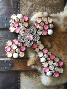 Wall Cross W/Butterfly Centerpiece Unusual  Décor, Rock, Beaded , Wood, Stone, Vintage Christian Cross, Unique Designs by CK on Etsy, $24.95