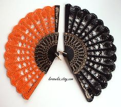 Halloween lace hand fan Goth style accesory ORANGE by kroowka, $35.00