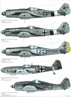 "Foke-Wulf FW190 & Messerschmitt BF-109 with variations ""Reichs defence colour schemes."" KB"