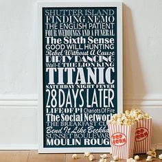 Large navy blue Personalised Top Twenty Films Print