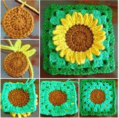 Crochet Sunflower Granny Square FREE Pattern