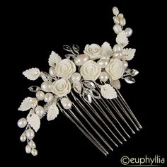 Euphoria Boutique WC03 Flower & Pearl Wedding Hair Comb