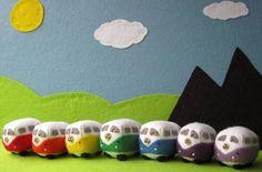 Felt VW Campervan Rainbow Set - Mini Felt Car Kombi Bus Wool Felt Collectible  £60.00