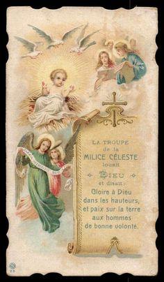 CHILD JESUS IN MANGER, ANGELS, BIRDS Old HOLY CARD