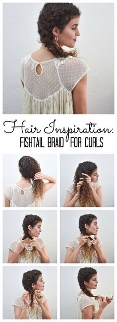 Hair Inspiration for Curls: Cute Fishtail Braid Tutorial - more tips and info in the link!