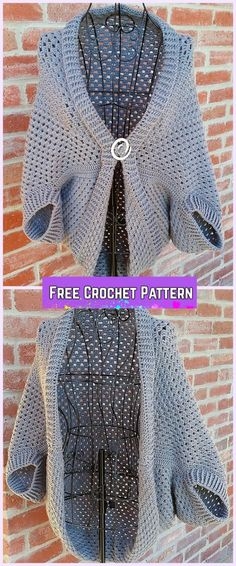 Crochet Granny Shrug Free Patterns for Ladies-Crochet Simple Granny Shrug Sweater Free Pattern