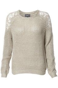 Stone Waffle Knit Crochet Lace Jumper http://www.apricotonline.co.uk/mall/productpage.cfm/womensclothing/_5051839153189/461704/Stone-Waffle-Knit-Crochet-Lace-Jumper apricot blogger knit