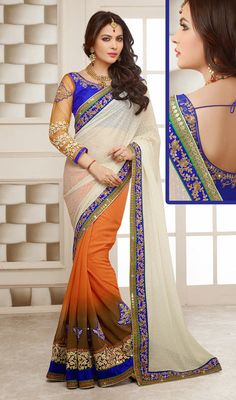 Cream and Deep Orange Georgette Half N Half Saree Price: Usa Dollar $121, British UK Pound £71, Euro89, Canada CA$131 , Indian Rs6534.