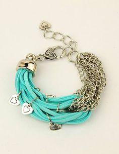 pulsera con cuero y cadenas me encanta esta idea,