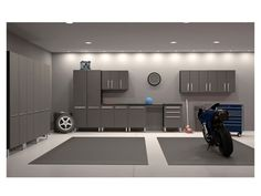 recessed lighting and paint in finished garage