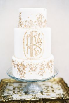 Fall Wedding Cakes: A White Monogrammed Cake with Gold Lettering | Brides.com