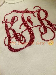 Glitter monogram onesie #littleshoppeofcheer